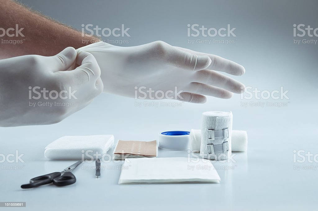 First aid medical supplies stock photo