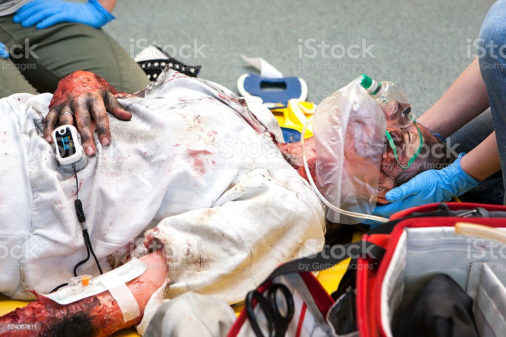 First aid paramedic training - emergency treatment stock photo