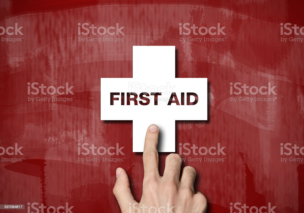 First Aid / Red Blackboard touch screen concept(Click for more) stock photo