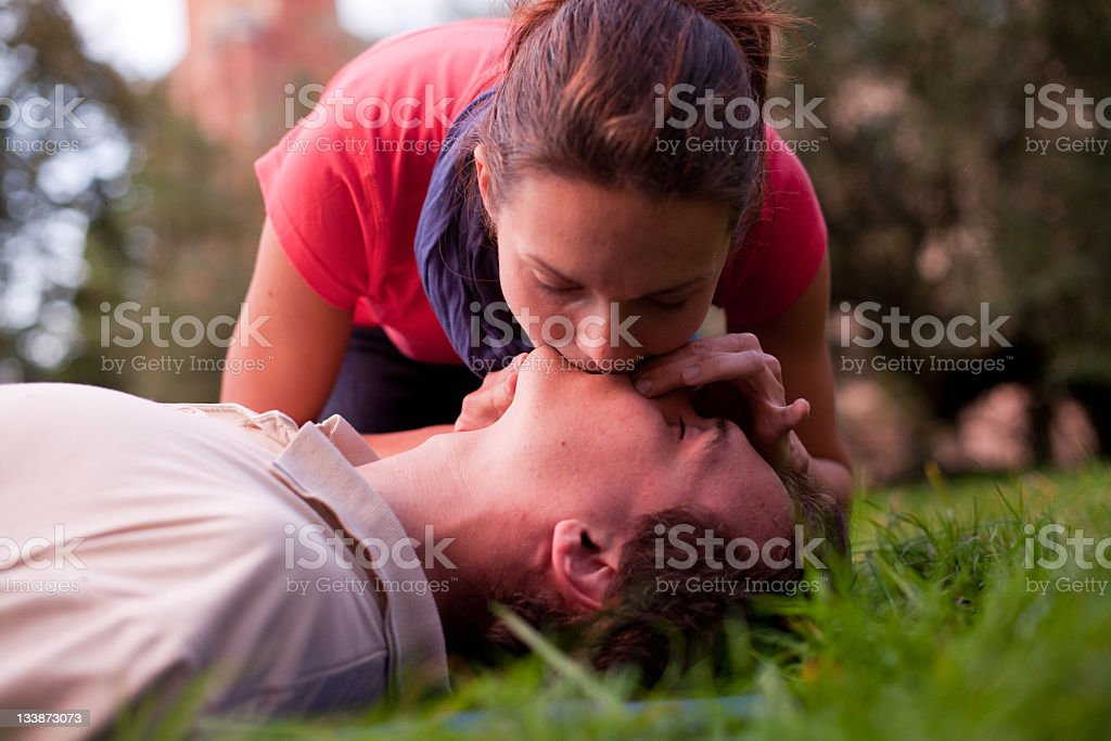 First aid - Rescue Breathing royalty-free stock photo