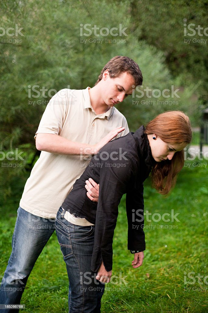 First aid - Rescue from choking stock photo