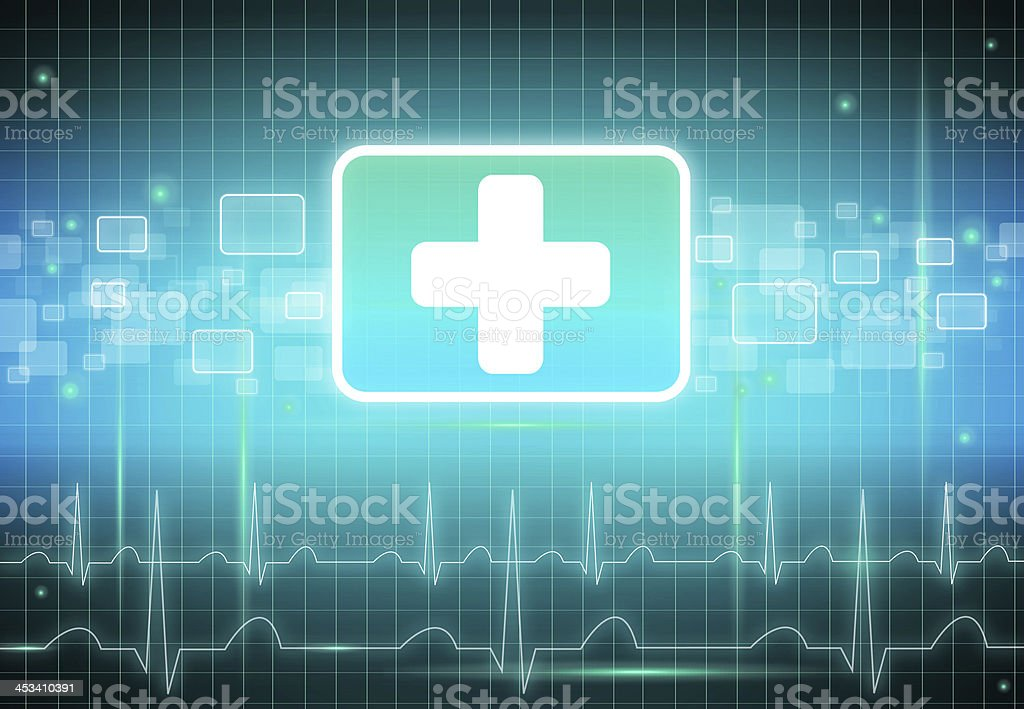 First aid sign in blue and green with tech background stock photo