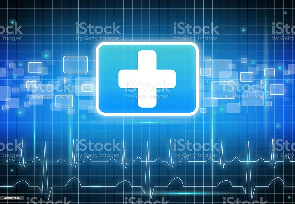 First aid sign with ECG (EKG) lines stock photo