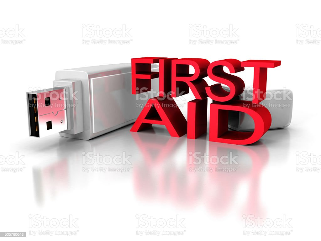 first aid usb flash drive on white background stock photo