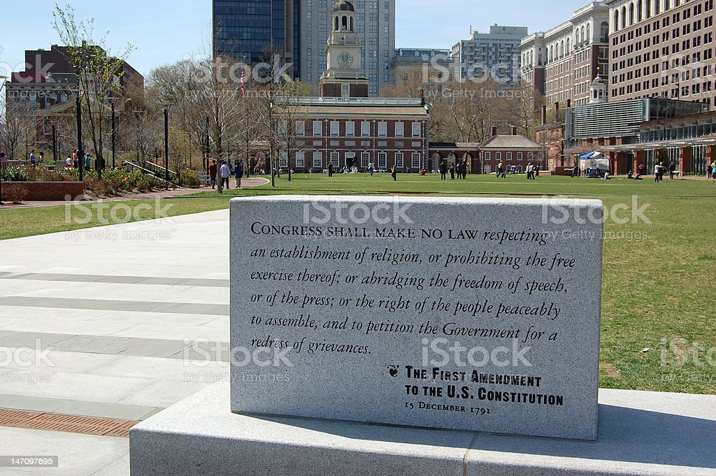 First Amendment and Independence Hall stock photo