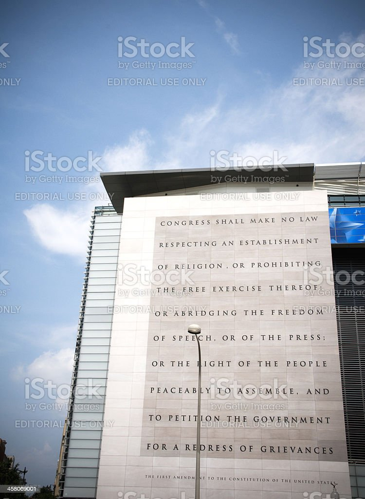 First Amendment, Washington D.C. Newseum Building Exterior stock photo
