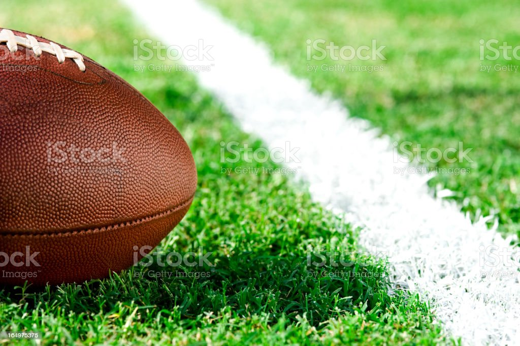 First and goal, ball at goal line - American Football stock photo