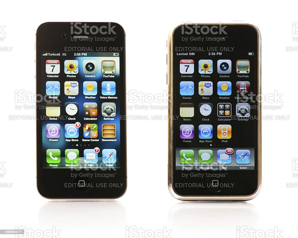 First and third generations of the iPhone stock photo