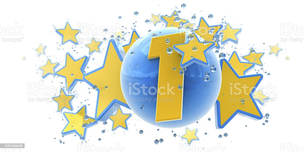 First anniversary blue and yellow royalty-free stock photo