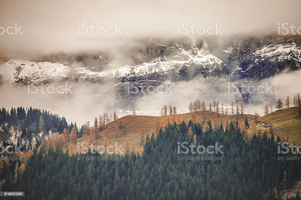 First Autumn Snow Fall in Swiss Alps stock photo