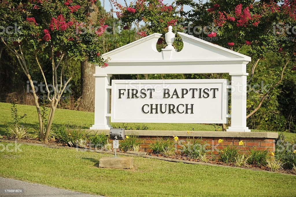 First baptist church sign stock photo