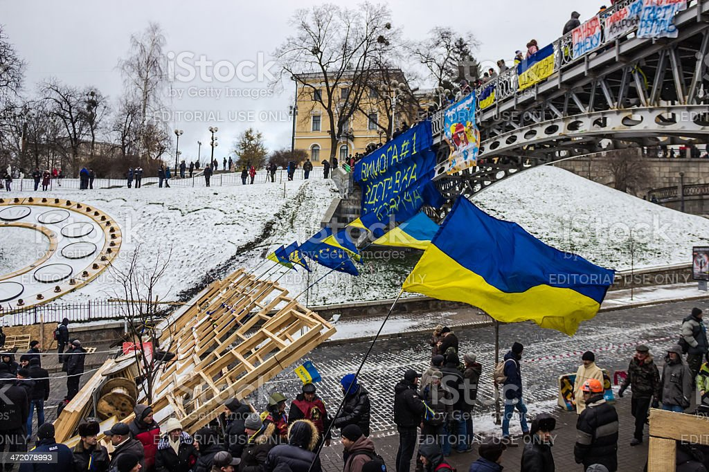 First barricades around the Maidan in Kiev stock photo