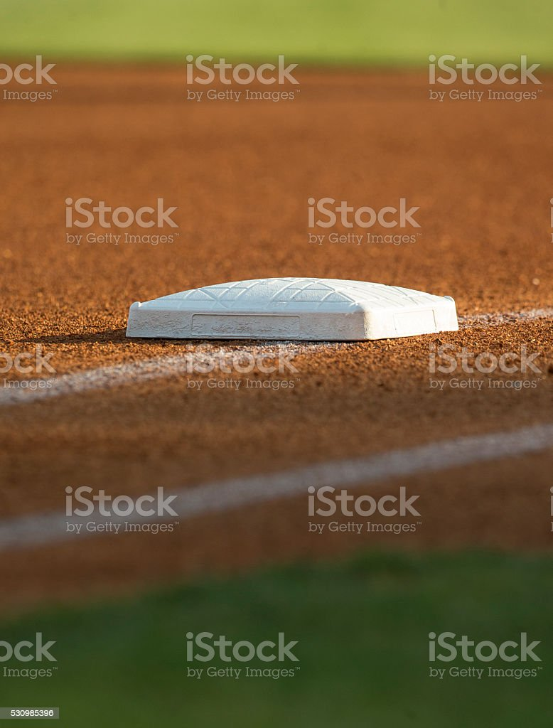 First Base in late afternoon. stock photo