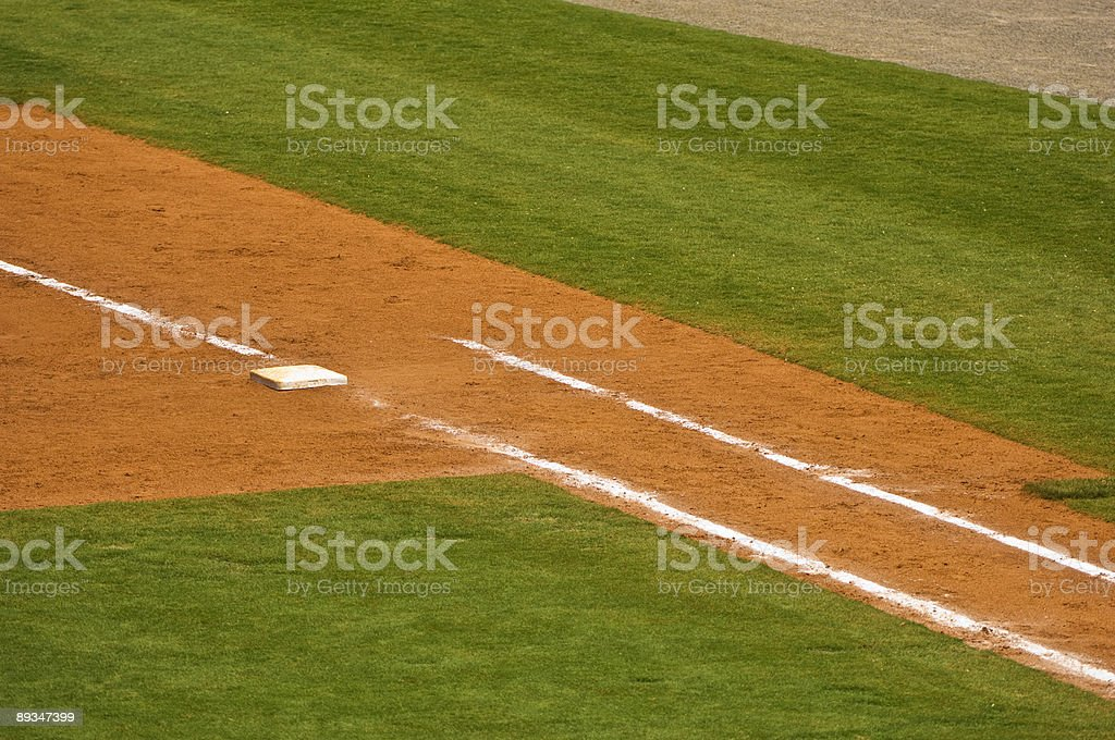 First Base on a Baseball Field at Baseball Game stock photo