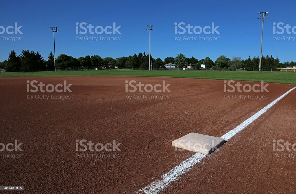 First Base on a Baseball Field stock photo
