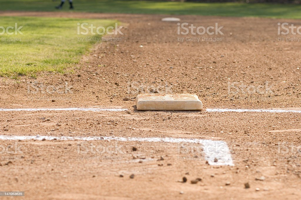 First Base on Baseball Diamond royalty-free stock photo