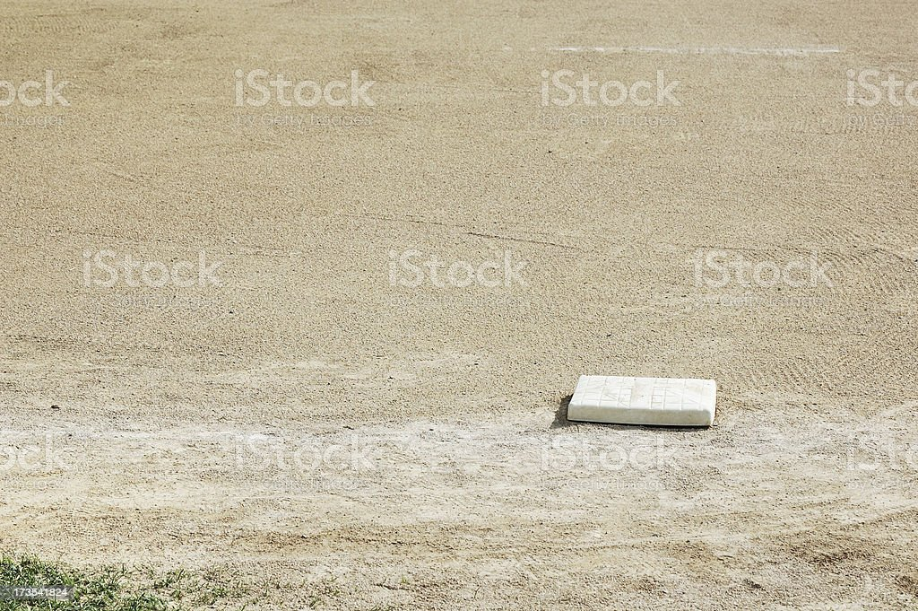 First Base on Empty Baseball Field royalty-free stock photo