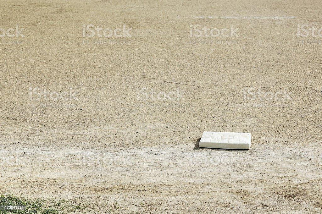 First Base on Empty Baseball Field stock photo