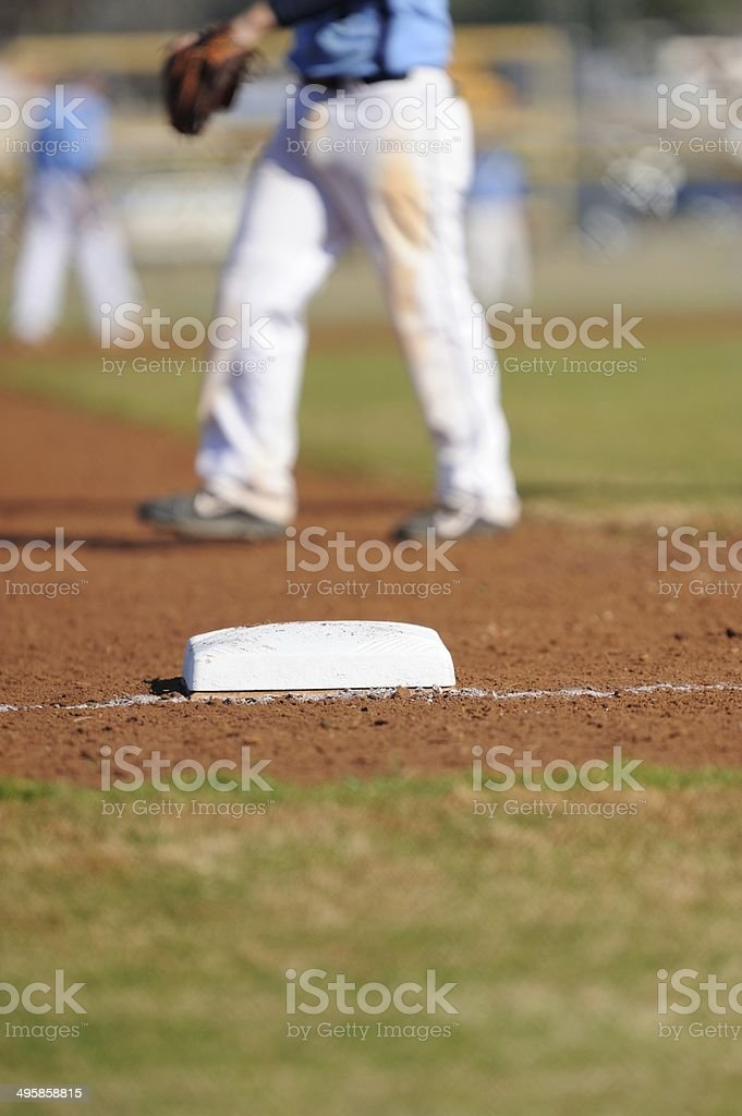 First base with players in background stock photo