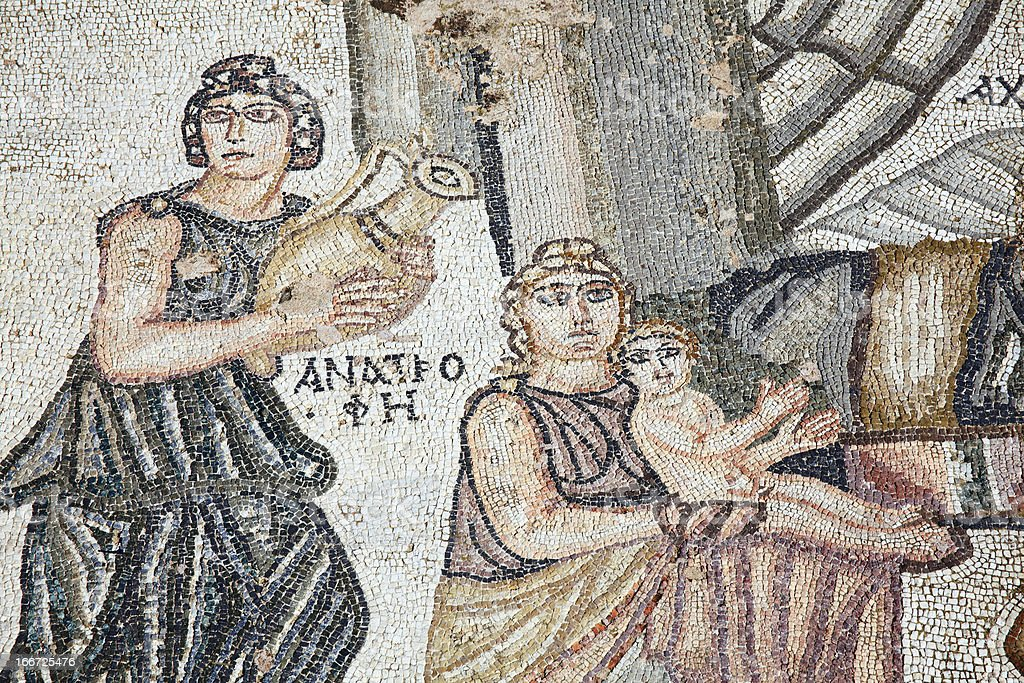 First Bath Of Archilles, Roman Mosaic, Paphos, Cyprus royalty-free stock photo