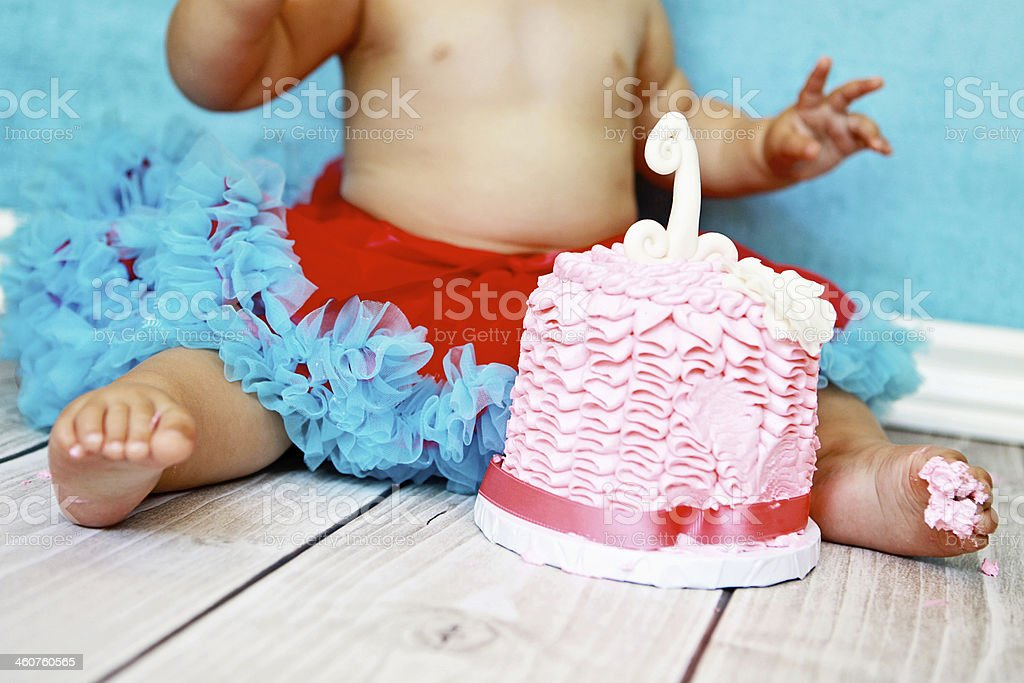 First Birthday Cake and Baby Wearing Tutu royalty-free stock photo