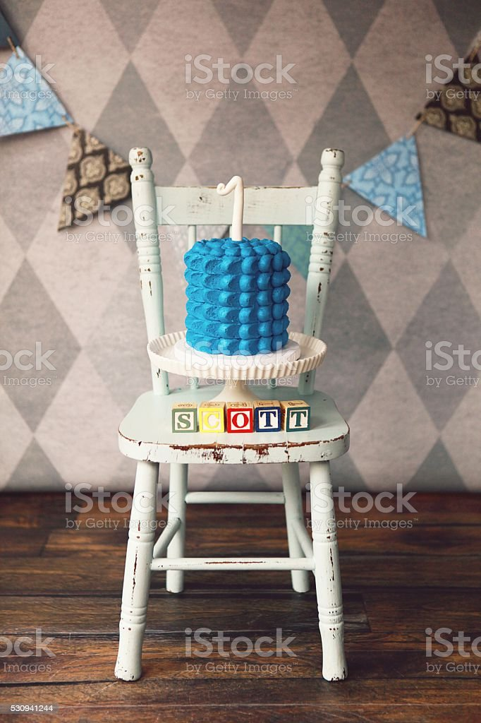 First Birthday Cake and Decorations for Baby Boy stock photo