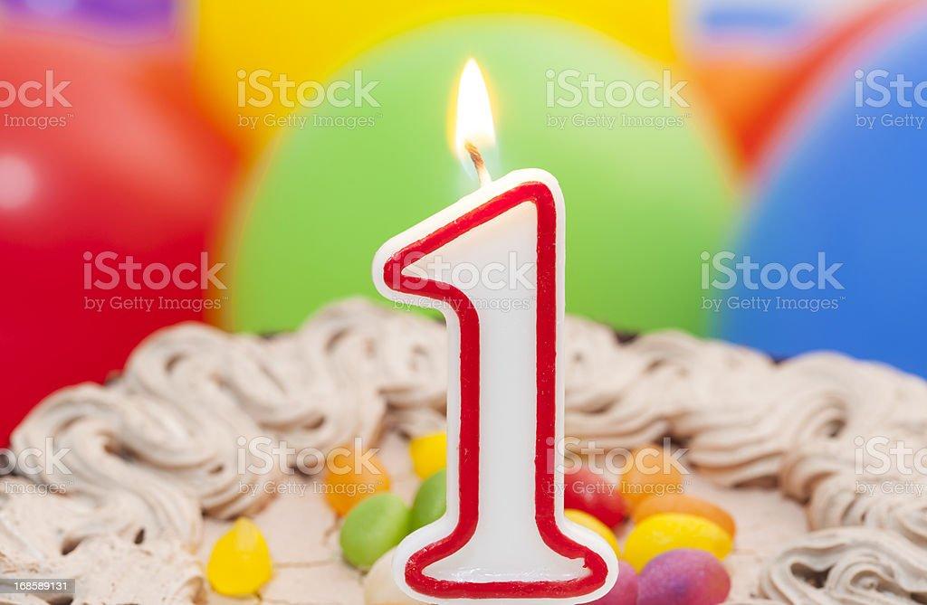 First birthday cake to celebrate stock photo