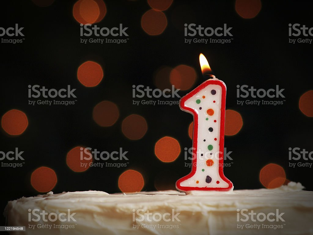 First Birthday Candle royalty-free stock photo