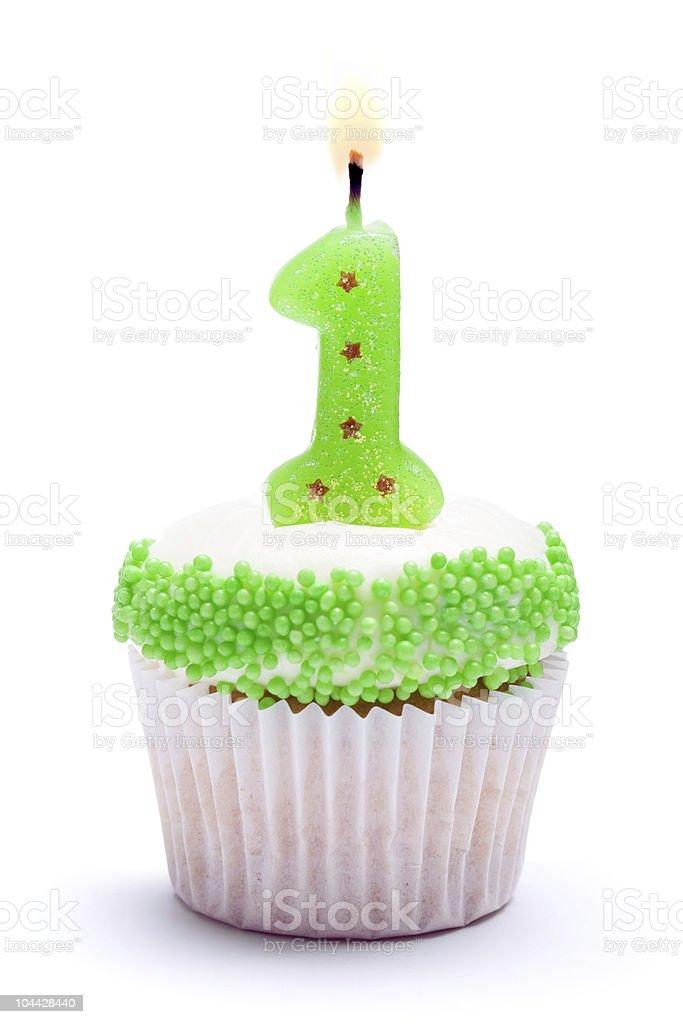 First birthday cupcake royalty-free stock photo