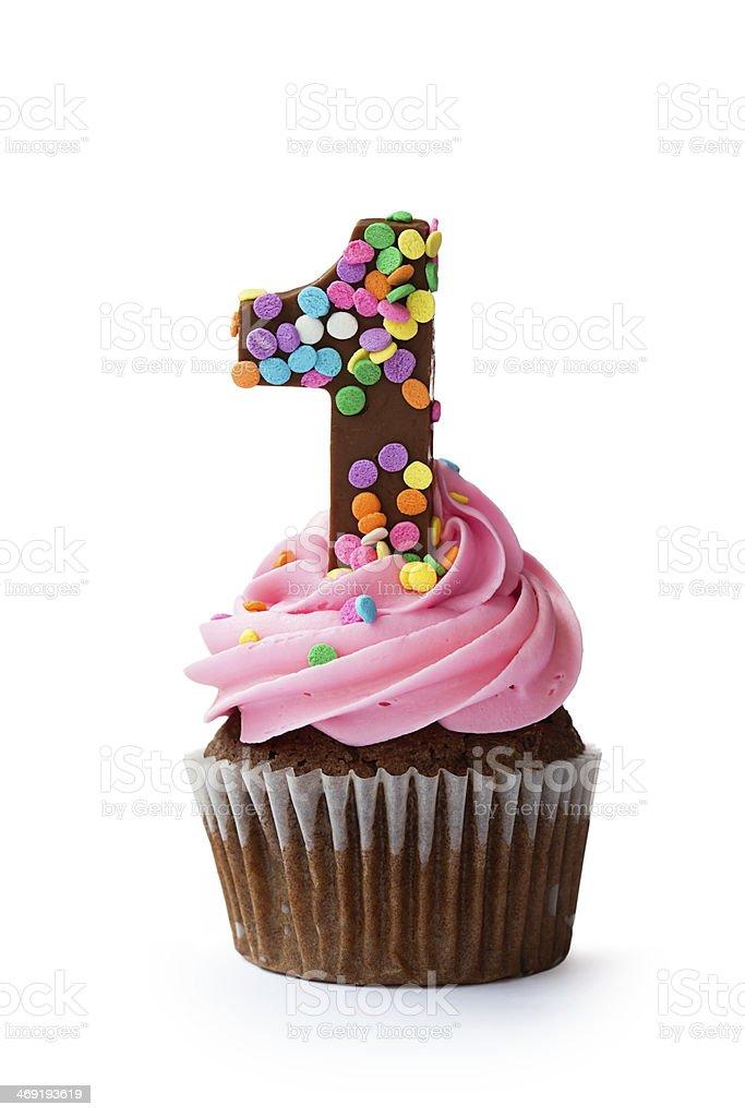 First birthday cupcake stock photo