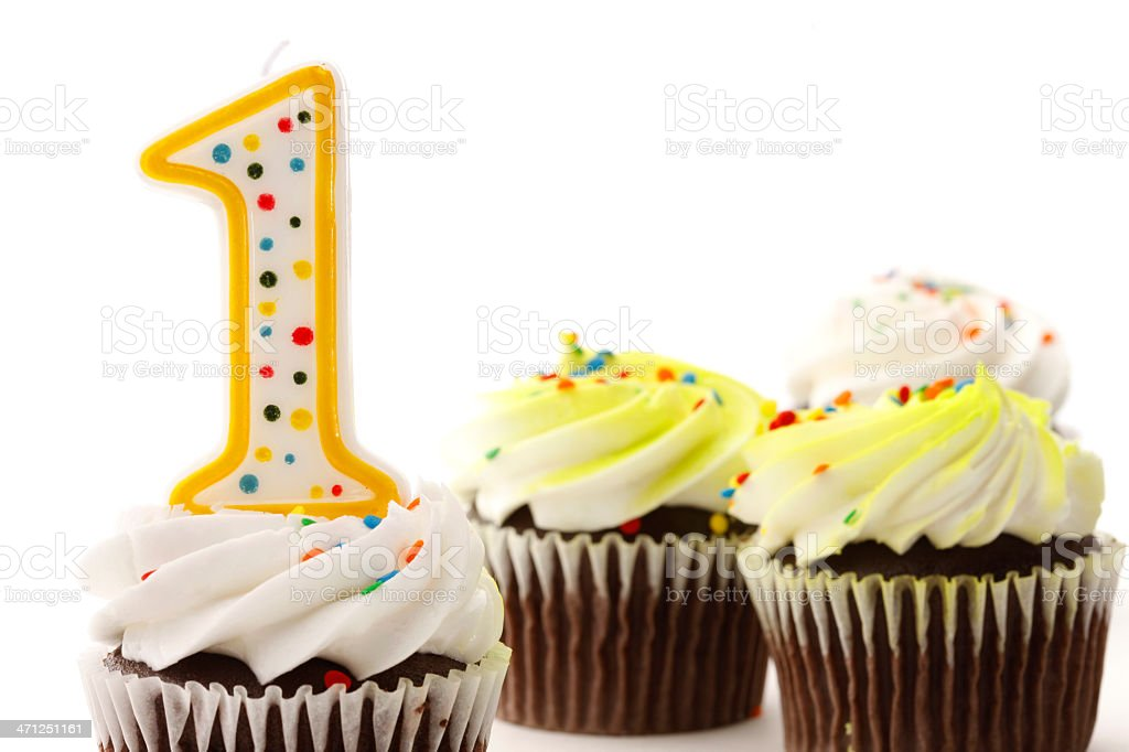 First Birthday Cupcakes royalty-free stock photo