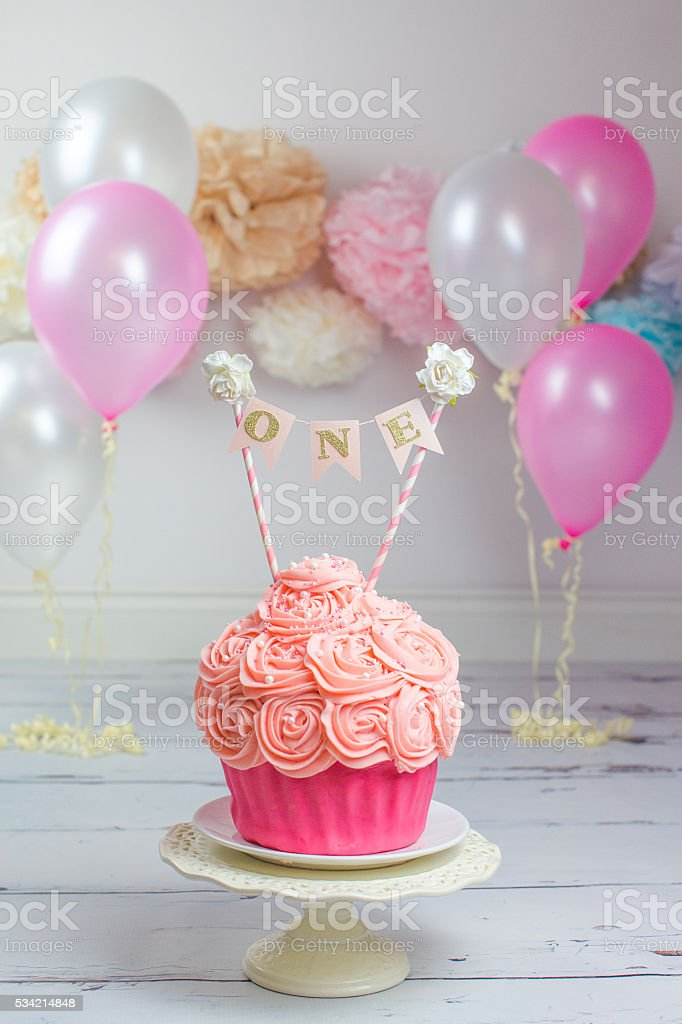 First Birthday Giant Pink Cake stock photo