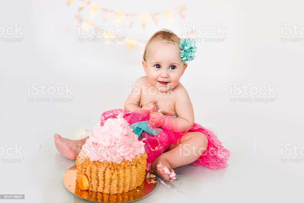 first birthday Portraits with smash cake stock photo