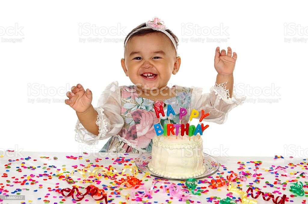 first birthday with cake stock photo