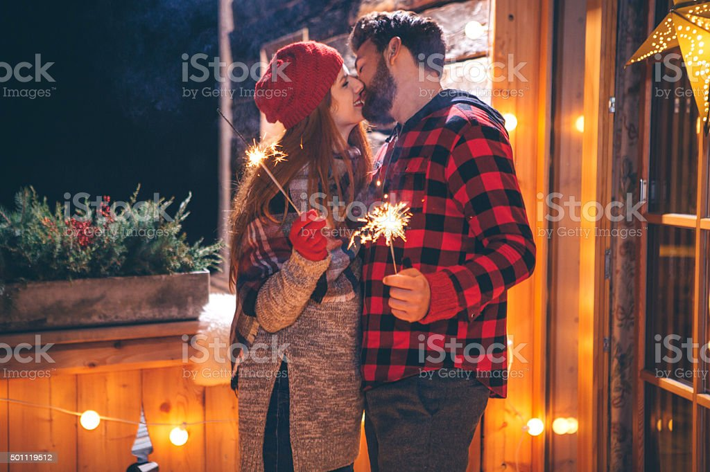 First Christmas together stock photo