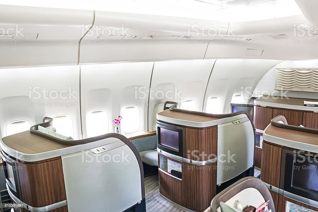 First class airline cabin stock photo