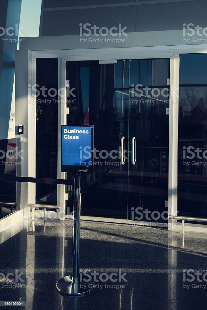 First Class, Business Lounge, area in the airport, entrance stock photo