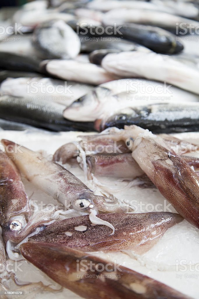 First class fishermans catch on market stall royalty-free stock photo