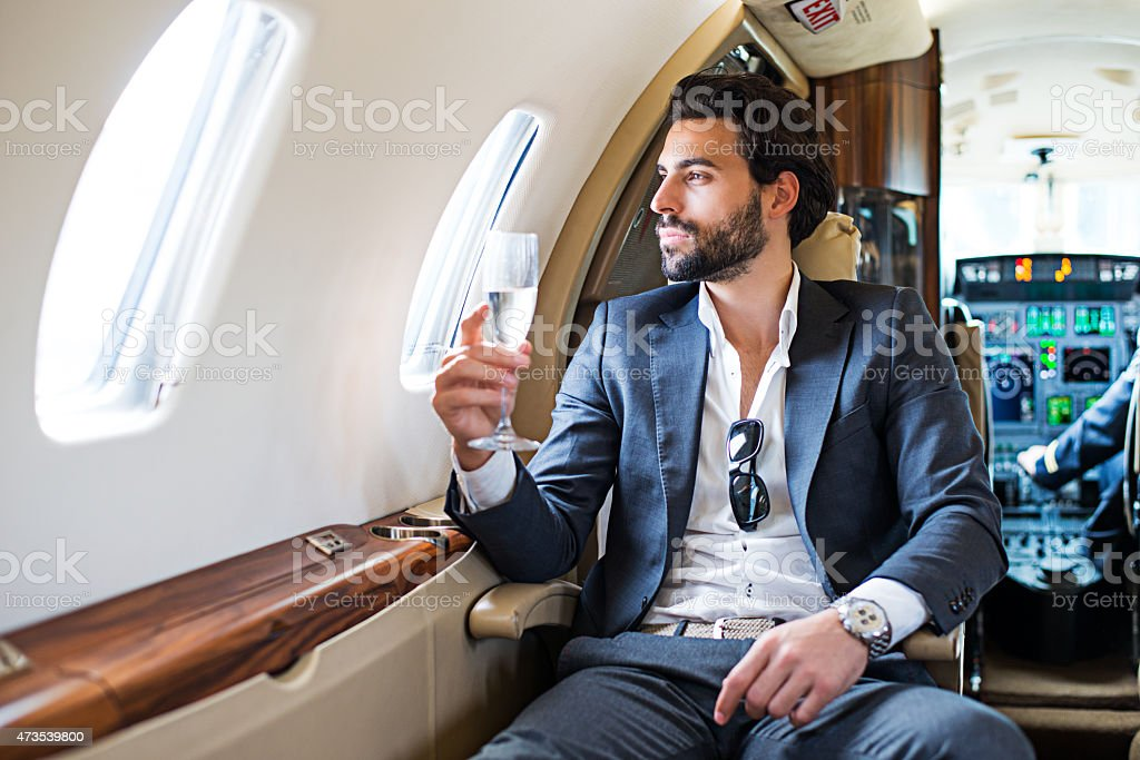 First class of private jet airplane stock photo