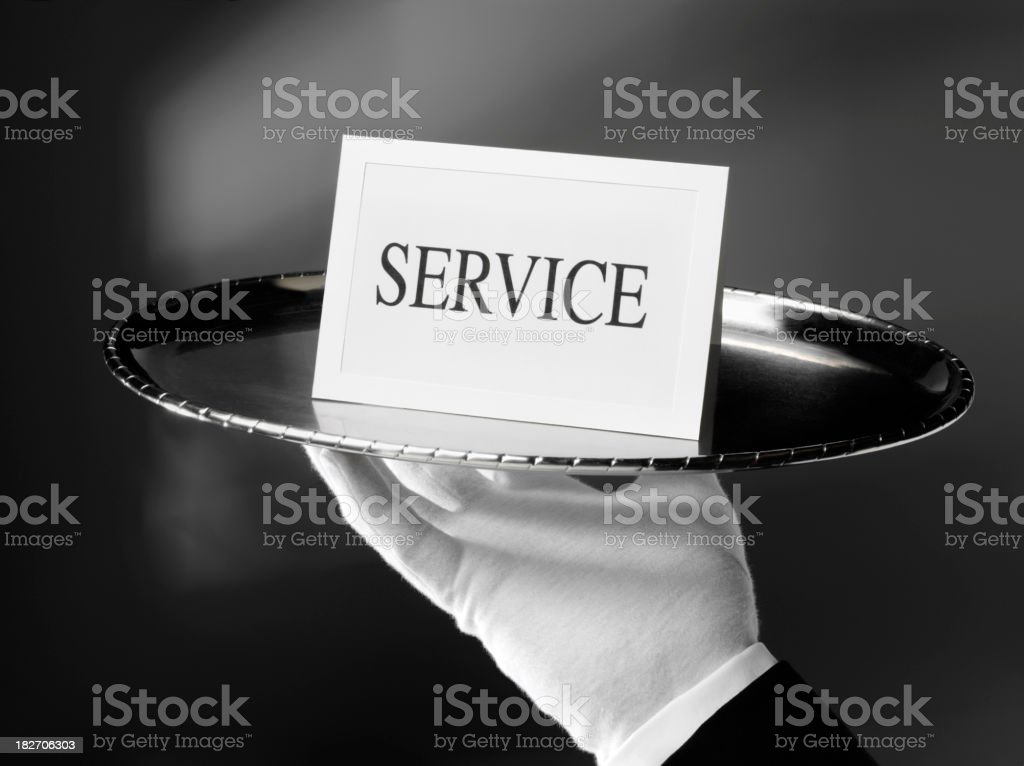 First Class Service on a Silver Tray stock photo