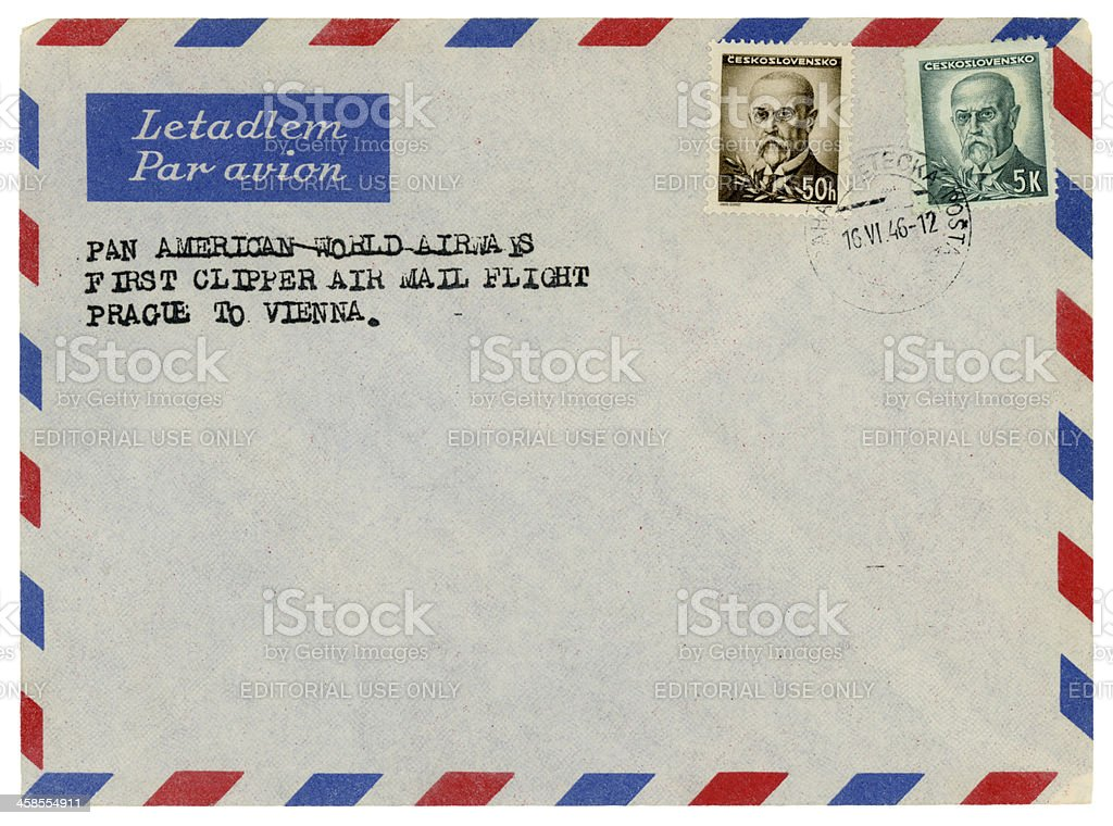 First clipper Pan-Am airmail flight Prague to Vienna, envelope 1946 royalty-free stock photo