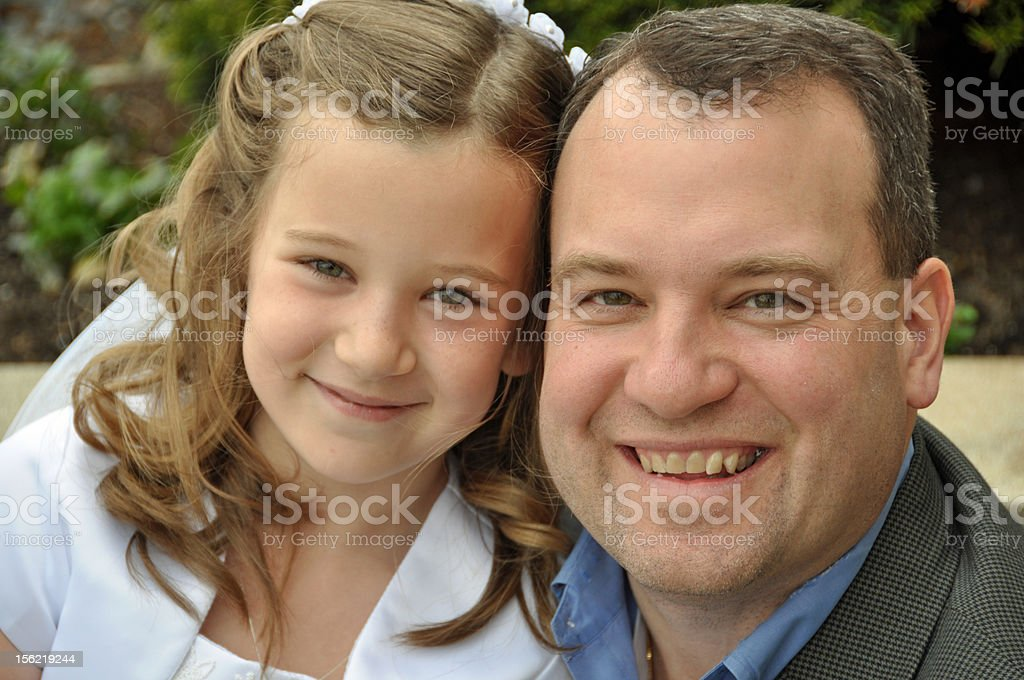 first communion day stock photo