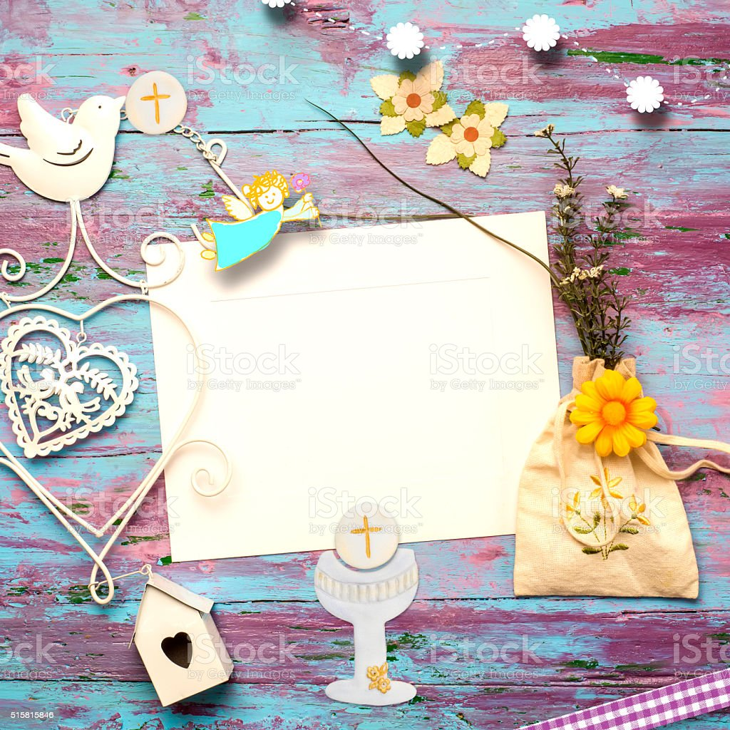 First Communion invitation card stock photo