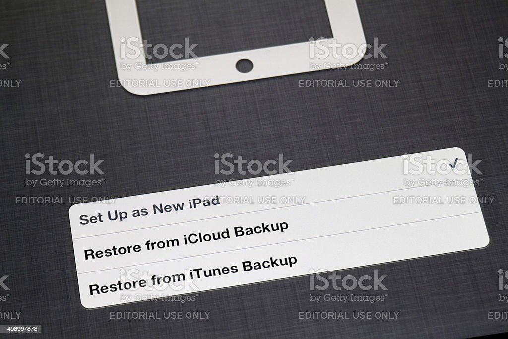 First connect of New iPad stock photo