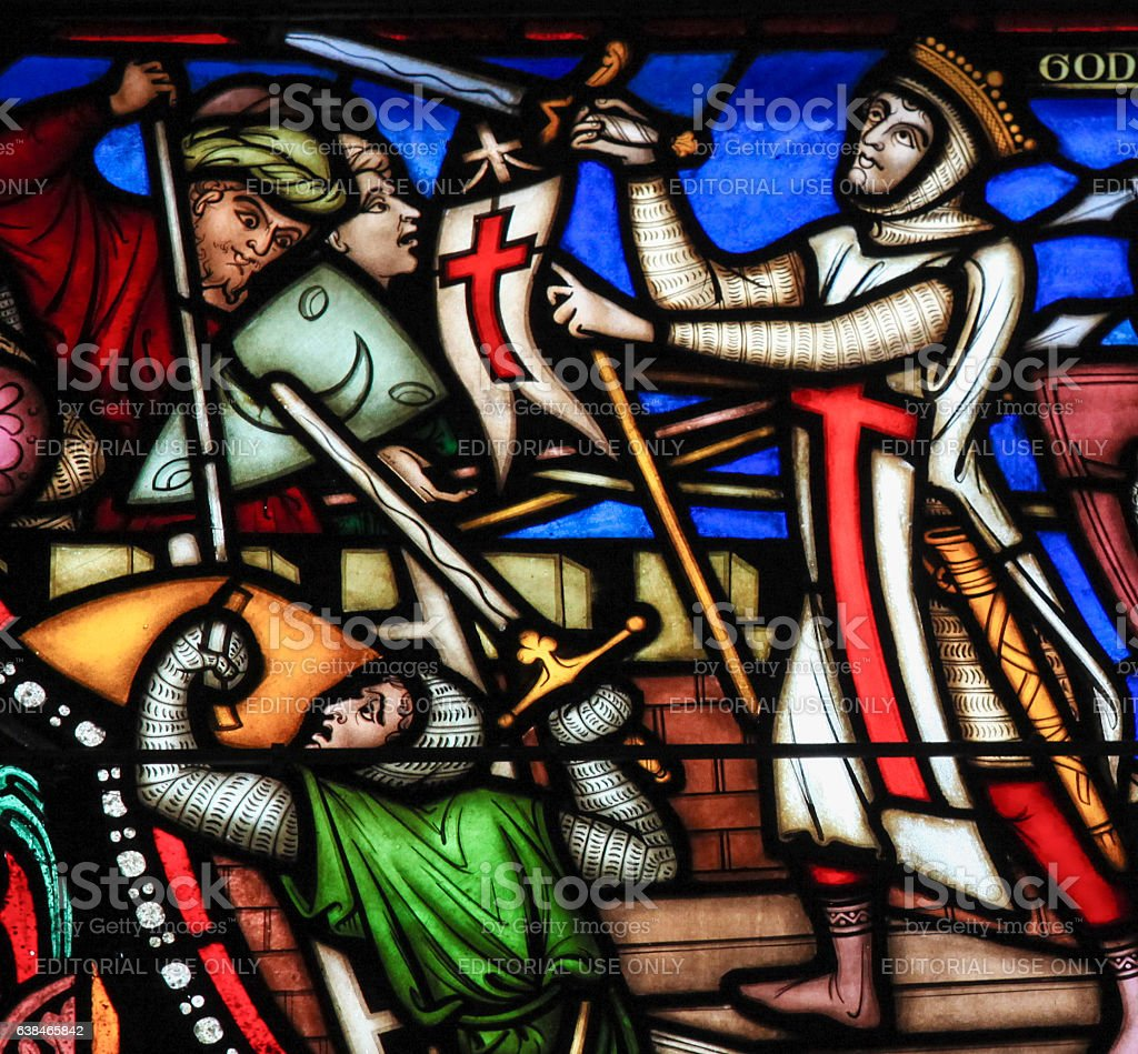 First Crusade - Stained Glass stock photo