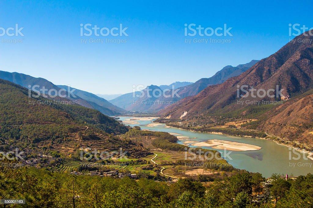 first curve yangtze river stock photo