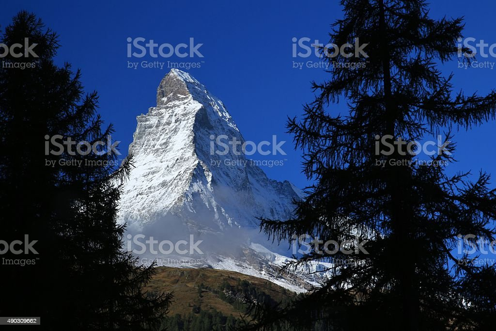 First glimpse of the Matterhorn stock photo