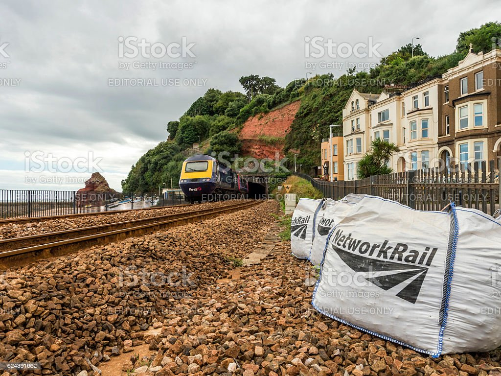 First Great Western Riviera railway line at Dawlish. stock photo