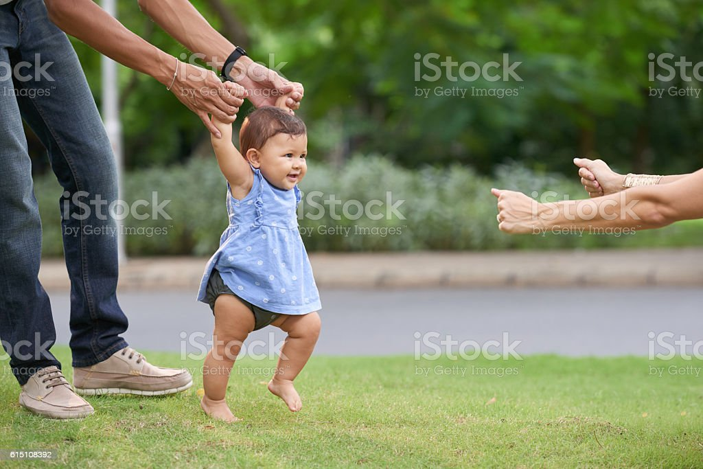 First happy steps stock photo
