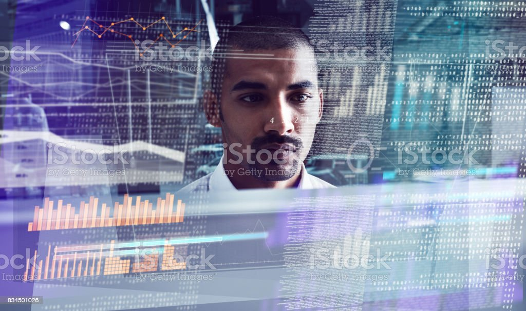 First he cracks the code, then he writes the code stock photo